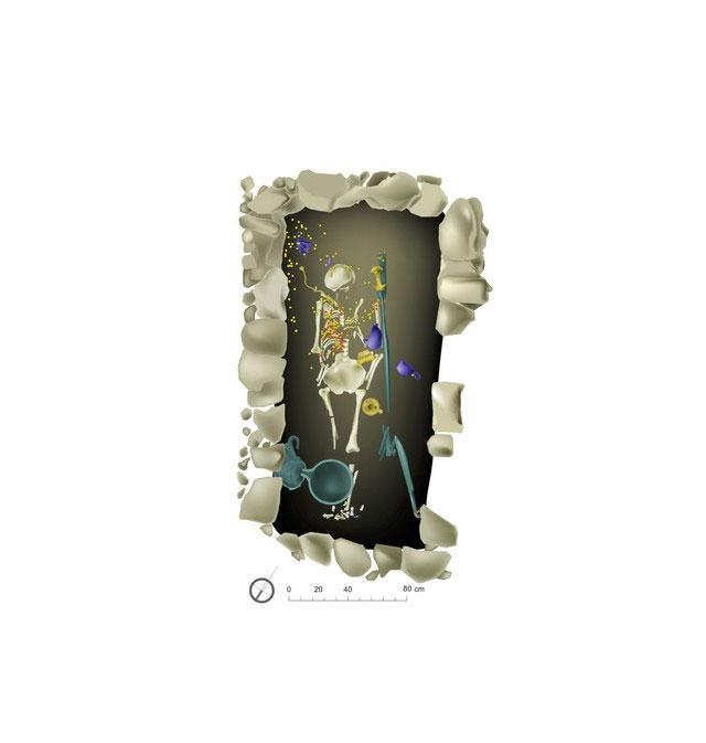 Σχεδιαστική αναπαράσταση της ταφής της Πύλου (φωτ. ΥΠΠΟΑ).