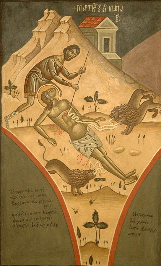 Φώτης Κόντογλου, «Το Μαρτύριο του Αγίου Μάμαντα», αντίγραφο τοιχογραφίας από το Καθολικό Μονής Βαρλαάμ Μετεώρων, 1932, τέμπερα σε μουσαμά, 106x66 εκ. ΒΧΜ 22878.