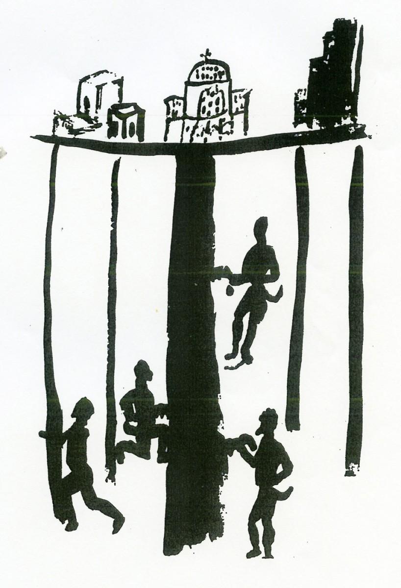 Εικ. 1. Καλικάντζαροι στα έγκατα της γης, πριονίζουν το δένδρο που τη στηρίζει (σχέδιο του Πάνου Φειδάκη, που δημοσιεύτηκε στο βιβλίο «Καλικάντζαροι» των εκδόσεων του Φοίνικα, Αθήνα 2008).