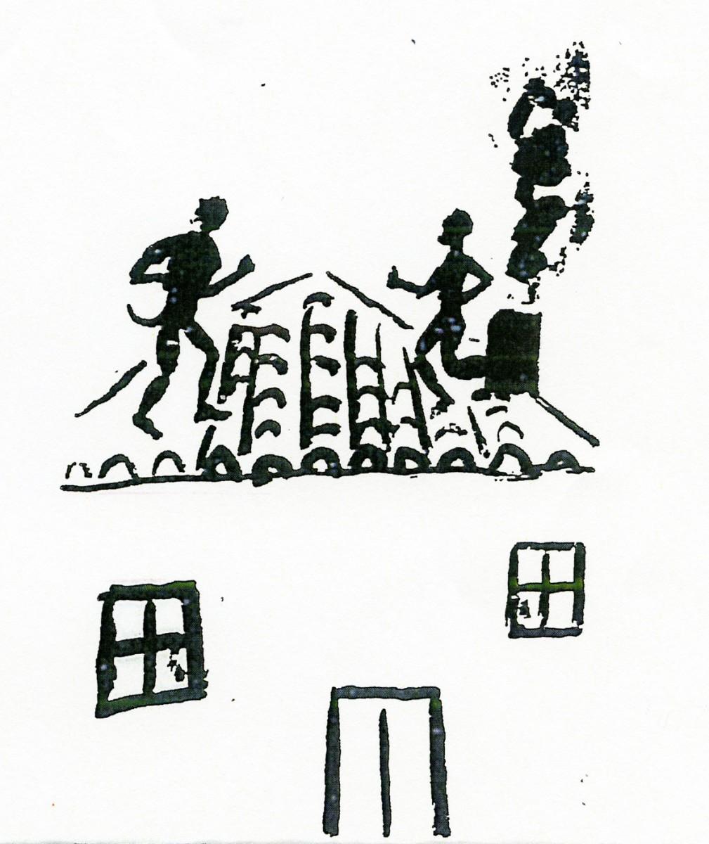 Εικ. 2. Καλικάντζαροι πάνω στην καμαροσκέπαστη στέγη ενός σπιτιού (σχέδιο του Πάνου Φειδάκη, που δημοσιεύτηκε στο βιβλίο «Καλικάντζαροι» των εκδόσεων του Φοίνικα, Αθήνα 2008).
