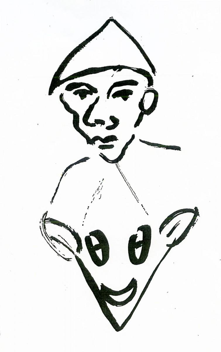 Εικ. 3. Καλικάντζαρος (σχέδιο του Πάνου Φειδάκη, που δημοσιεύτηκε στο βιβλίο «Καλικάντζαροι» των εκδόσεων του Φοίνικα, Αθήνα 2008).