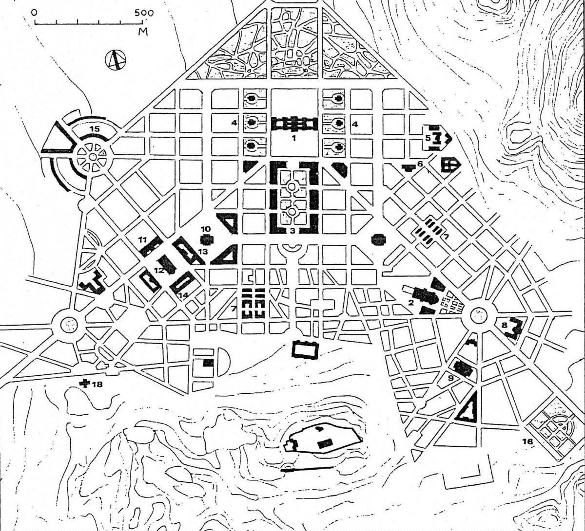 Εικ. 2. Το σχέδιο των Σταμάτη Κλεάνθη και Eduard Schaubert (ανασχεδίαση Δ. Ρουμπιέν). Βλ. Υπομνήματα Εικόνων.