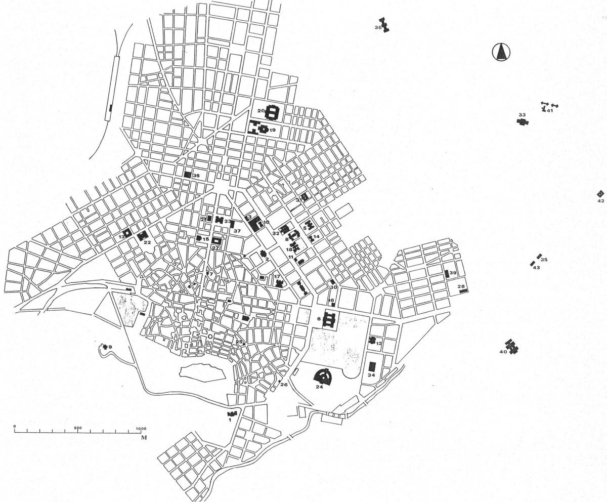 Εικ. 4. Η Αθήνα προς το τέλος της βασιλείας του Γεωργίου Α΄ (1863-1913). Τα δημόσια κτήρια αριθμούνται με χρονολογική σειρά (σχέδιο Δ. Ρουμπιέν). Βλ. Υπομνήματα Εικόνων.