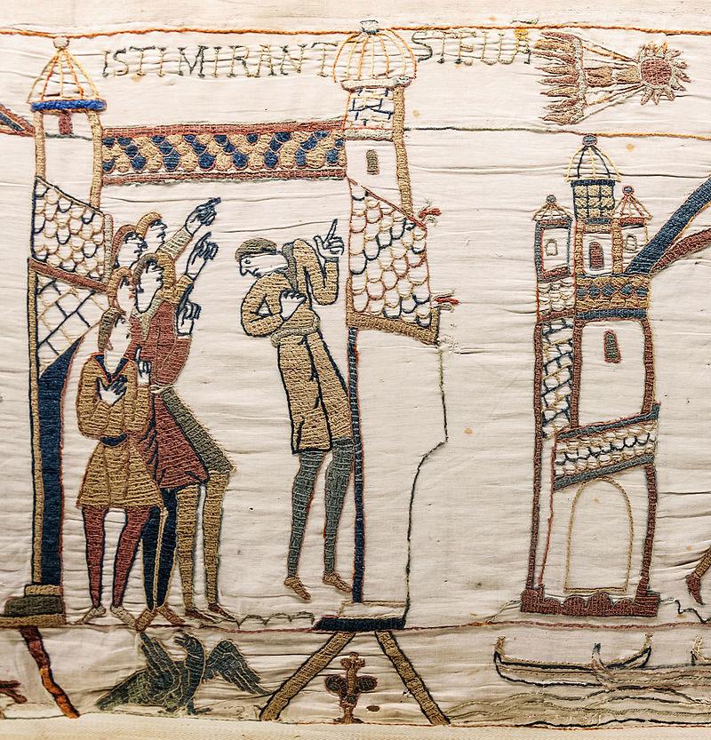 Η εμφάνιση του κομήτη του Χάλεϊ το 1066 από την ταπισερί της Μπαγιέ (φωτ. Βικιπαίδεια).