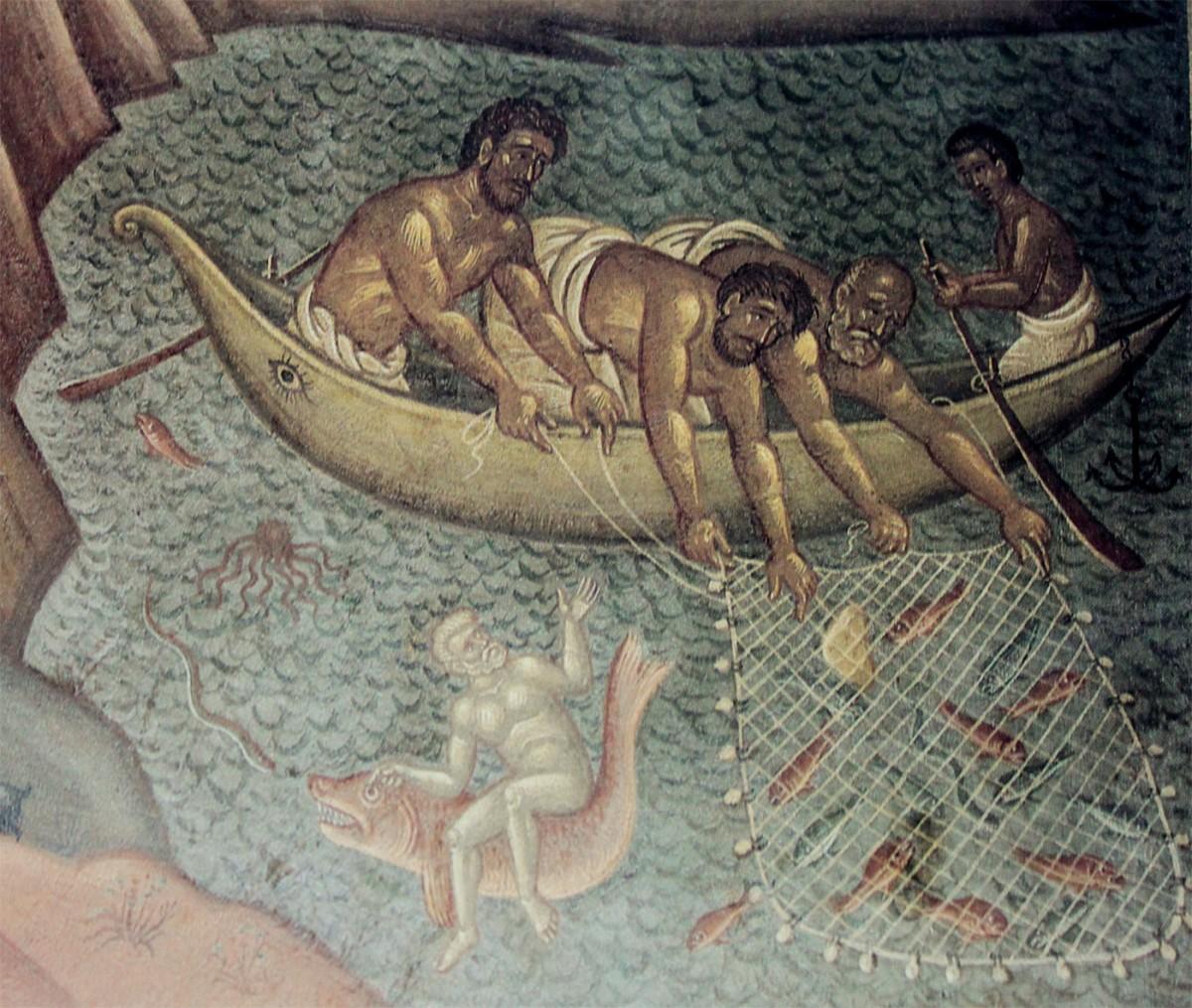 Λεπτομέρεια από τον τοιχογραφικό διάκοσμο του Φώτη Κόντογλου στο Δημαρχείο Αθηνών.