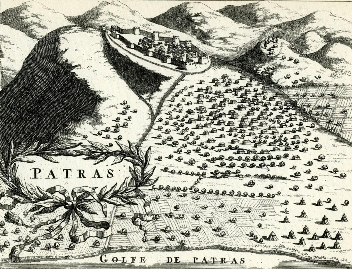 Εικ. 1. Πάτρα. Χαλκογραφία, M.V. Coronelli, 1686.