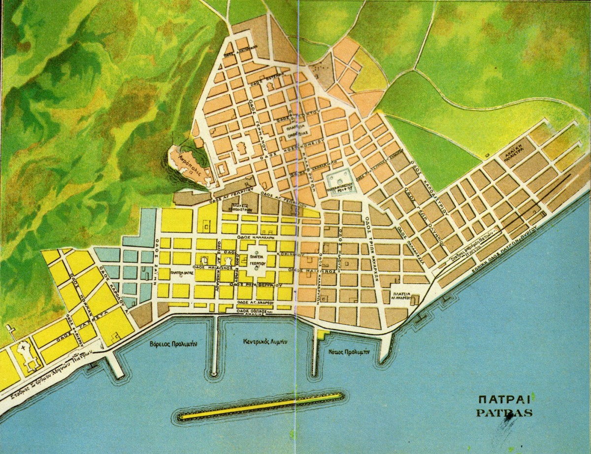Εικ. 31. Το πολεοδομικό σχέδιο της Πάτρας σε επιστολικό δελτάριο. Α.Β. Πάσχα.