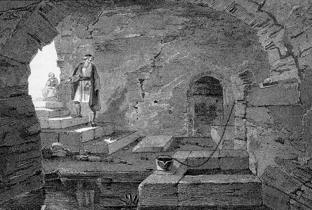 Εικ. 7. Ιερά Πηγή Δήμητρας. Αγίασμα Αγίου Ανδρέα. Edward Dodwell, A Classical and Topographical Tour through Greece, Λονδίνο 1819. Βιβλιοθήκη ΙΒΕ  ΙΝΕ / ΕΙΕ.
