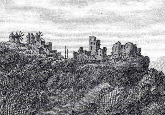 Εικ. 2. Σχέδιο του καστελλίου του Αγ. Νικολάου από τον B. Hillaire, Ch. Gouffier. Πηγή: Choisel Gouffier, 1782, http://www.gallica.bnf.fr, Bibliotheque Nationale de France, departemant Estampes et Photographie, FOL-UB-117 (B,1).