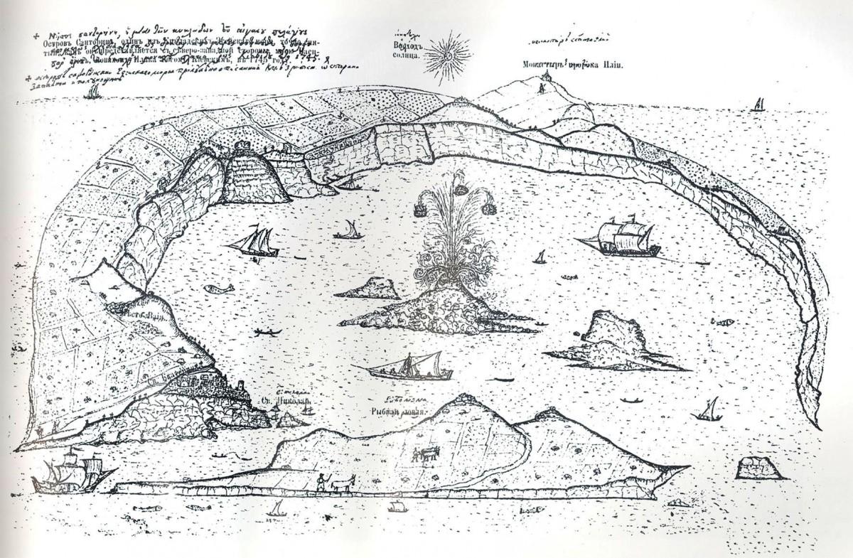 Εικ. 3. Σχέδιο της Σαντορίνης από τον μοναχό περιηγητή V.G. Barskij, 1745. Πηγή: http://www.routledge-ny.com (29-05-2008).