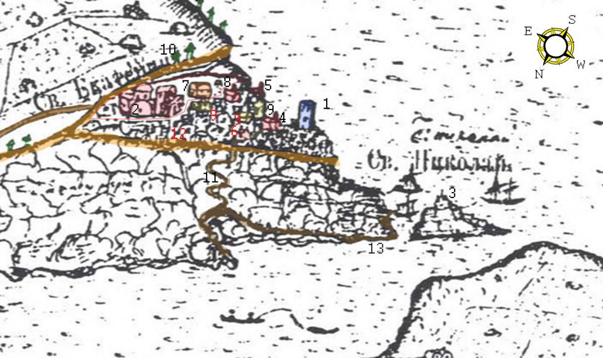 Εικ. 5. Το καστέλλι του Αγ. Νικολάου. Επεξεργασία λεπτομέρειας του σχεδίου του Barskij.