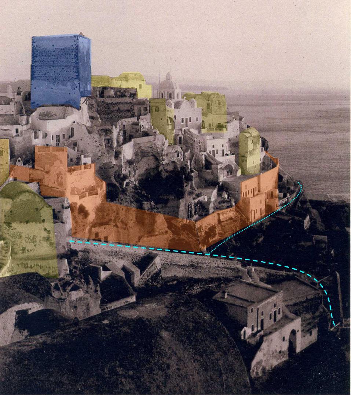 Εικ. 9. Επεξεργασία σε ασπρόμαυρη φωτογραφία. Απεικονίζεται η βόρεια πλευρά του καστελλίου, όπου διακρίνονται: με πορτοκαλί οι περιμετρικές οχυρωματικές κατασκευές, με κίτρινο τα καστρόσπιτα και με γαλάζια γραμμή ο περίδρομος του καστελλίου και η κλιμακωτή οδός. Πηγή: carte postale, προσωπικό αρχείο.