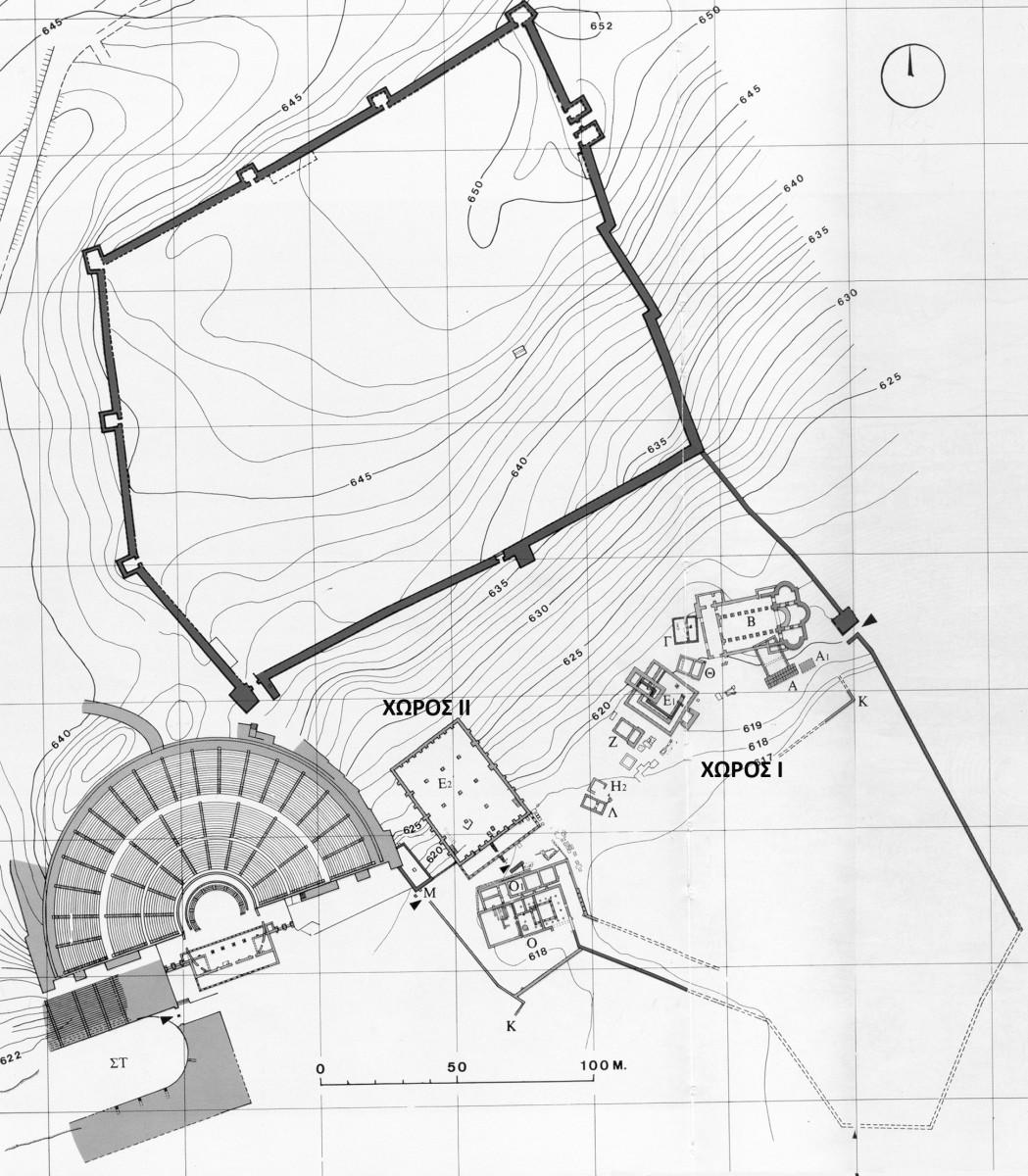 Εικ. 10. Κάτοψη του αρχαιολογικού χώρου της Δωδώνης, όπου σημειώνονται οι χώροι Ι και ΙΙ. (Πηγή: αρχείο Εφορείας Αρχαιοτήτων Ιωαννίνων)