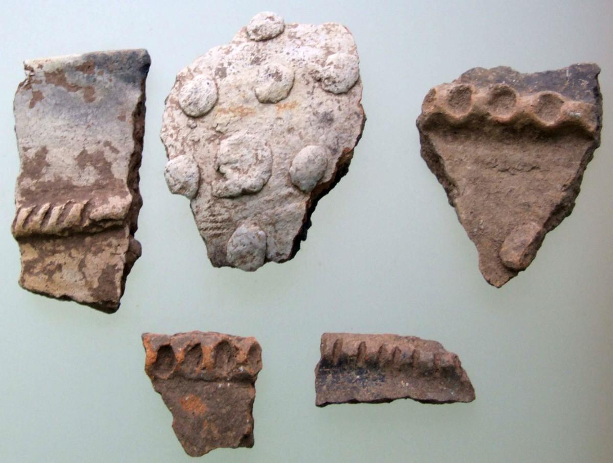 Εικ. 2. Δείγματα οστράκων με πλαστική διακόσμηση από την Κρύα. (Πηγή: αρχείο συγγραφέα)
