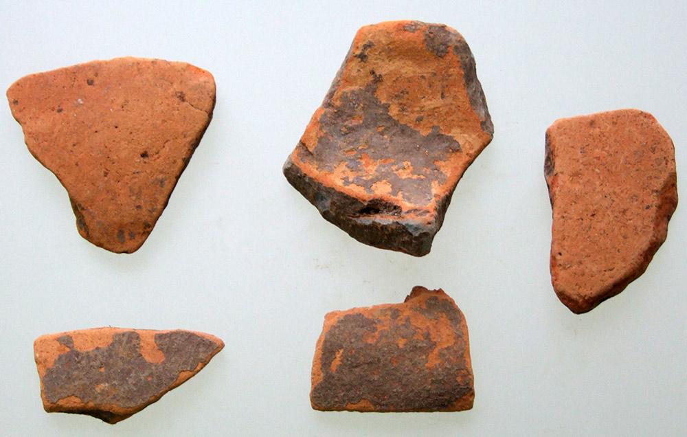 Εικ. 5. Δείγματα πορτοκαλέρυθρης κεραμικής από την Κρύα. (Πηγή: αρχείο συγγραφέα)
