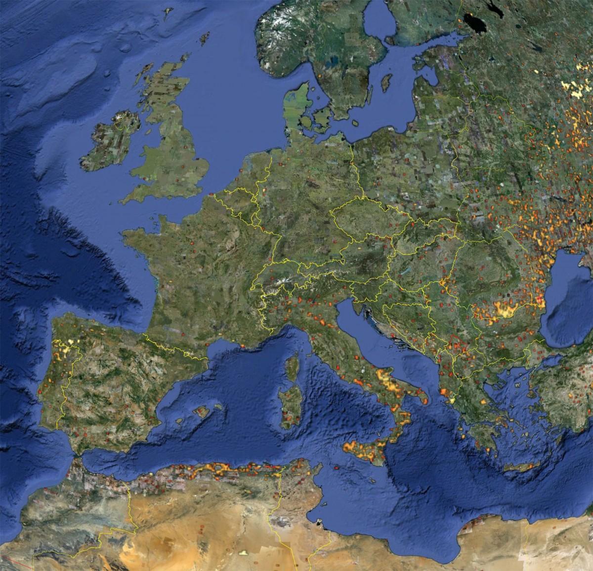 Η Ευρώπη υπέστη μια μεγάλη πληθυσμιακή αναστάτωση πριν από περίπου 14.500 χρόνια,, όταν μυστηριώδεις επιδρομείς την κατέκτησαν (φωτ. Google Earth).
