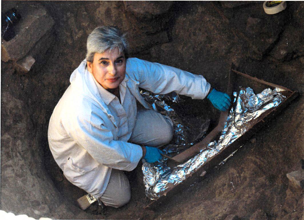 Εικ. 14. Στην ανασκαφή Διπόρου Γρεβενών, θέση Παναγιά. Προετοιμασία ευρήματος (κέρατα ελαφιού) για την κατασκευή νάρθηκα  πολυουρεθάνης, που θα βοηθήσει στην ασφαλή μεταφορά του στο Μουσείο (2011).