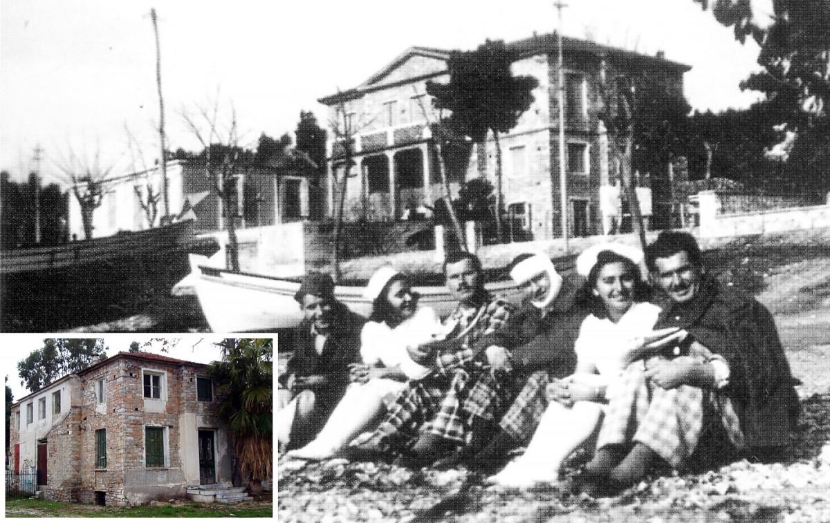 Εικ. 1. Φωτογραφία της οικίας στη διάρκεια του Β΄ Παγκοσμίου Πολέμου (1941-1944). Συλλογή Νίκης Σαμαρά. Πηγή: «Το Αχιλλοπούλειο Νοσοκομείο Βόλου», σ. 231. Στην ένθετη φωτογραφία:  η νότια και  η ανατολική όψη σήμερα.