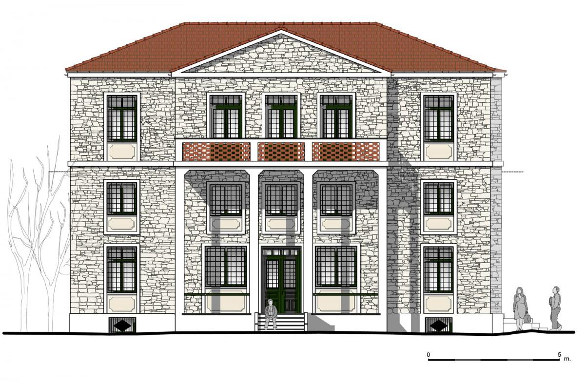 Εικ. 2. Η νότια όψη της οικίας. Νέα πρόταση. (Σχέδιο Θ. Μακρή-Σκοτινιώτη)