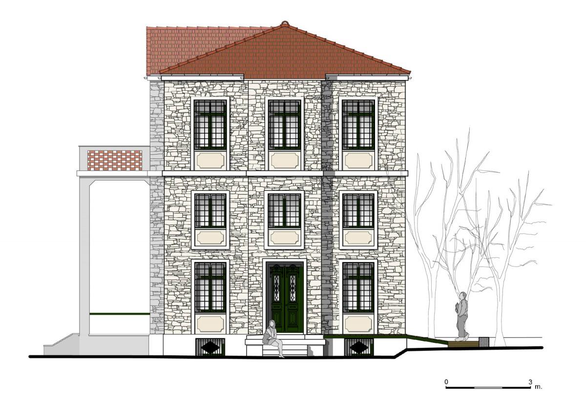 Εικ. 3. Η ανατολική όψη της οικίας. Νέα πρόταση. (Σχέδιο Θ. Μακρή-Σκοτινιώτη)