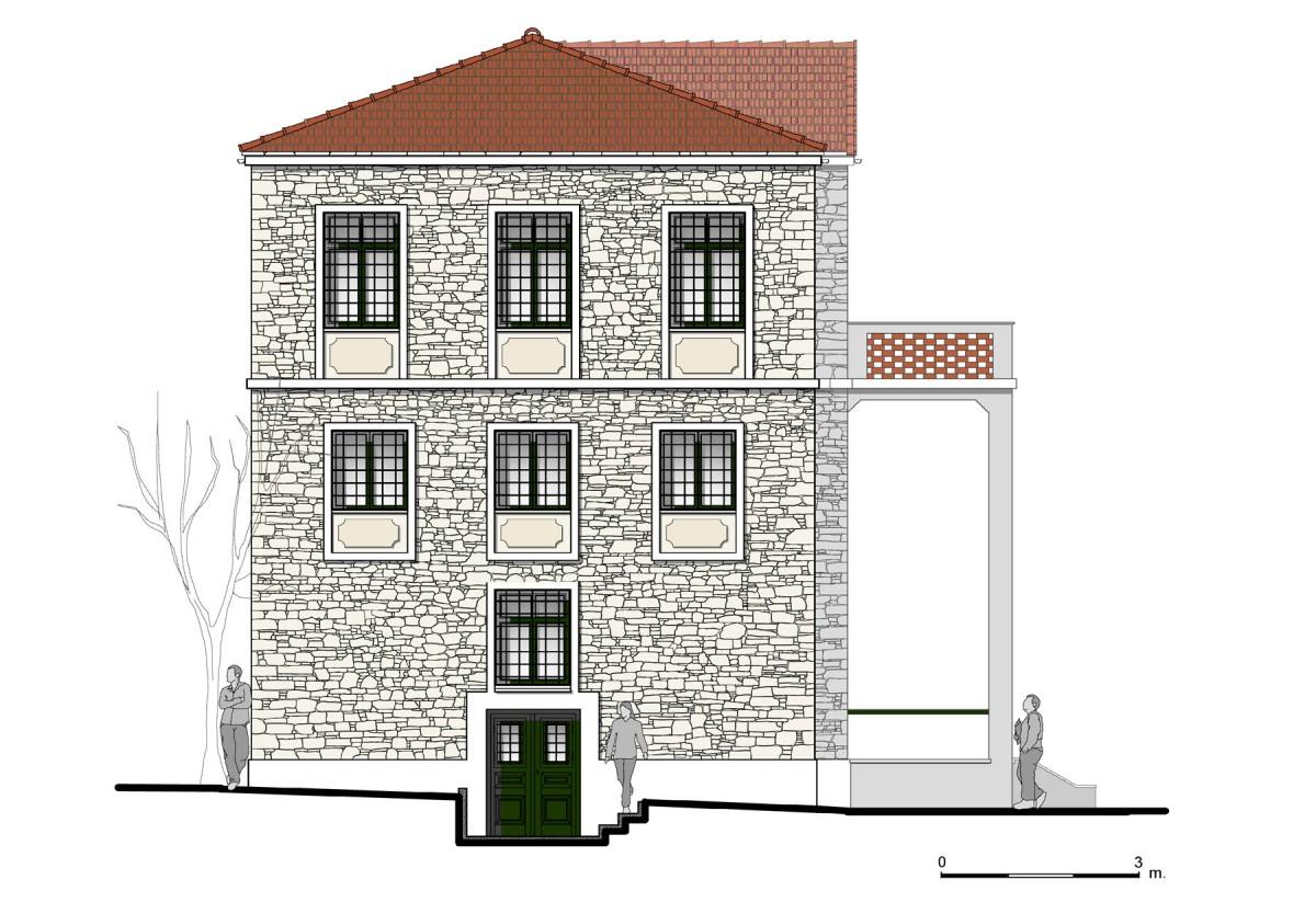 Εικ. 4. Η δυτική όψη της οικίας. Νέα πρόταση. (Σχέδιο Θ. Μακρή-Σκοτινιώτη)