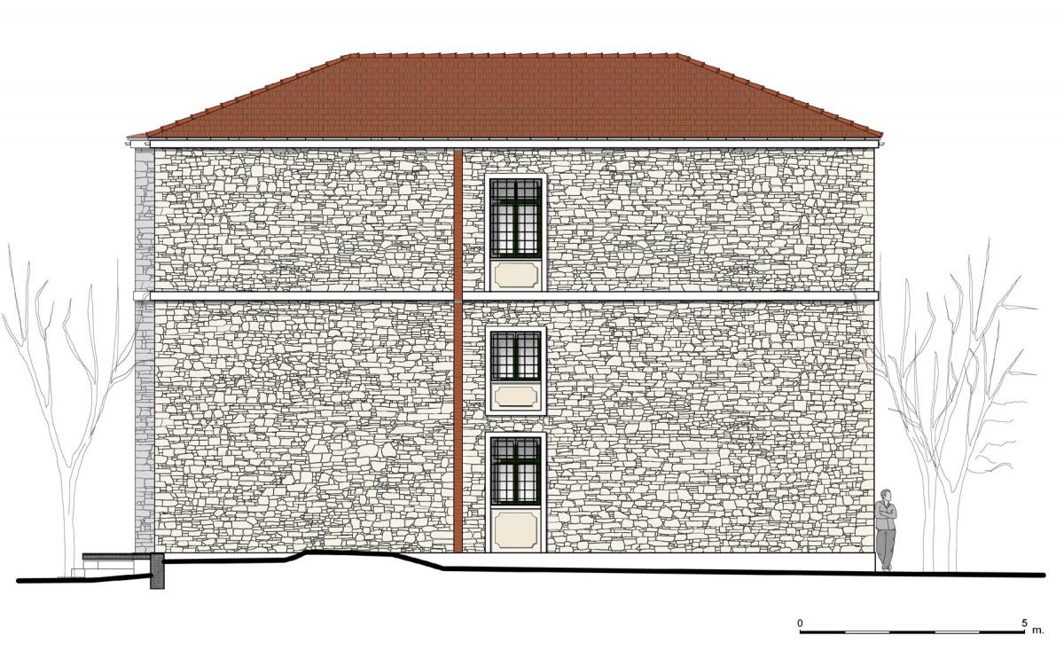 Εικ. 5. Η βόρεια όψη της οικίας. Νέα πρόταση. (Σχέδιο Θ. Μακρή-Σκοτινιώτη)
