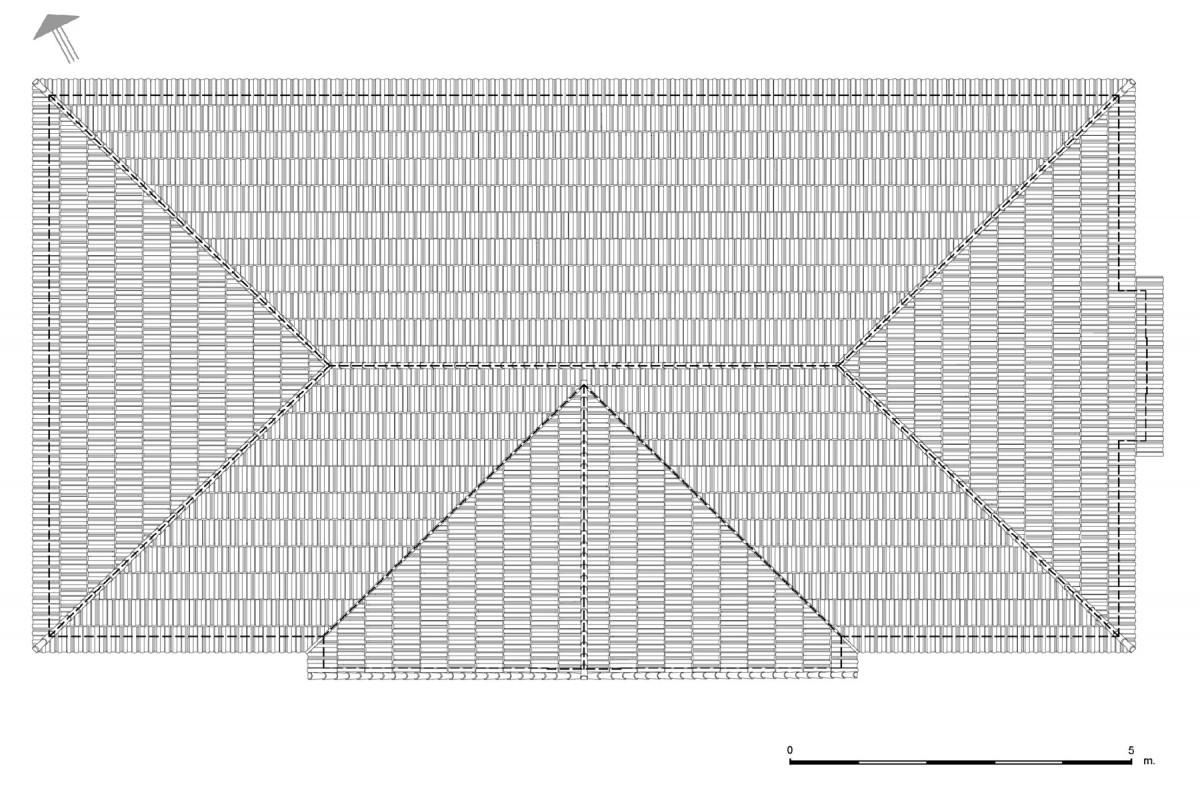 Εικ. 8. Η κάτοψη της στέγης. Νέα πρόταση. (Σχέδιο Θ. Μακρή-Σκοτινιώτη)