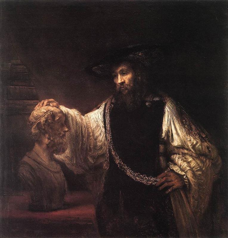 Ο Αριστοτέλης μπροστά στην προτομή του Ομήρου, Ελαιογραφία του Ρέμπραντ, 1653, Μητροπολιτικό Μουσείο Νέας Υόρκης.