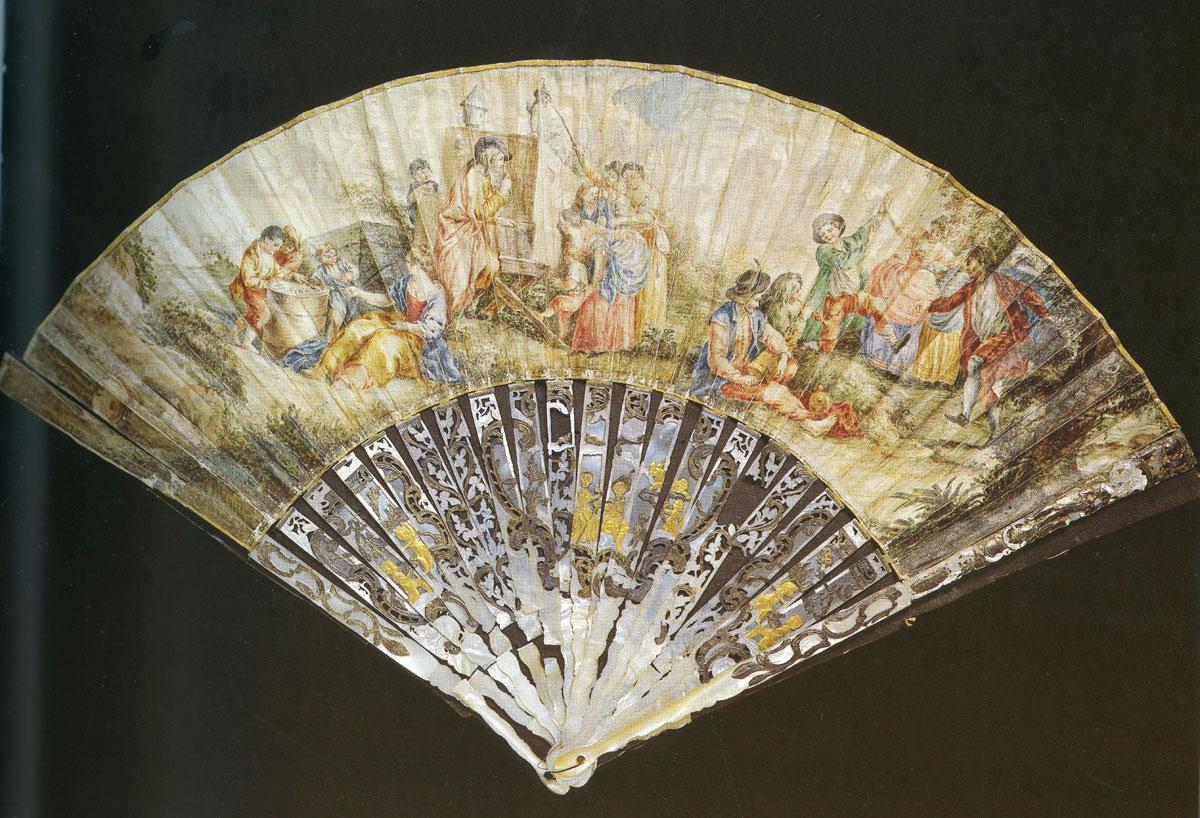 Βεντάλια δύο όψεων, στην οποία απεικονίζεται σκηνή από αγροτική γιορτή. Γαλλία, περίπου 1760.