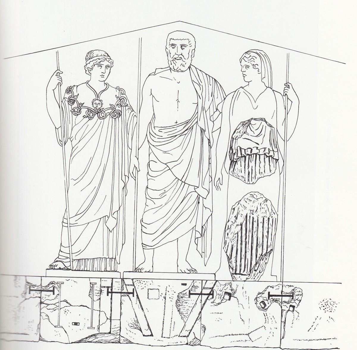 Εικ. 8. Σχεδιαστική αποκατάσταση των κεντρικών μορφών του ανατολικού αετώματος του Παρθενώνα. Αθηνά, Ζευς, Ήρα.