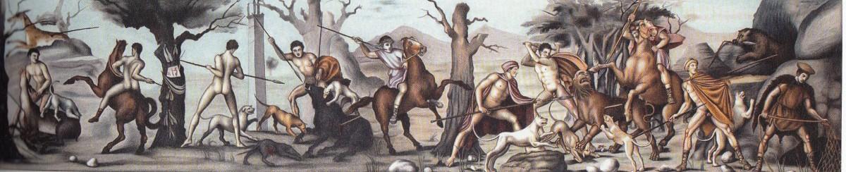 Εικ. 11. Ζωγραφική αποκατάσταση της τοιχογραφίας με το κυνήγι. Βεργίνα, Τάφος II.