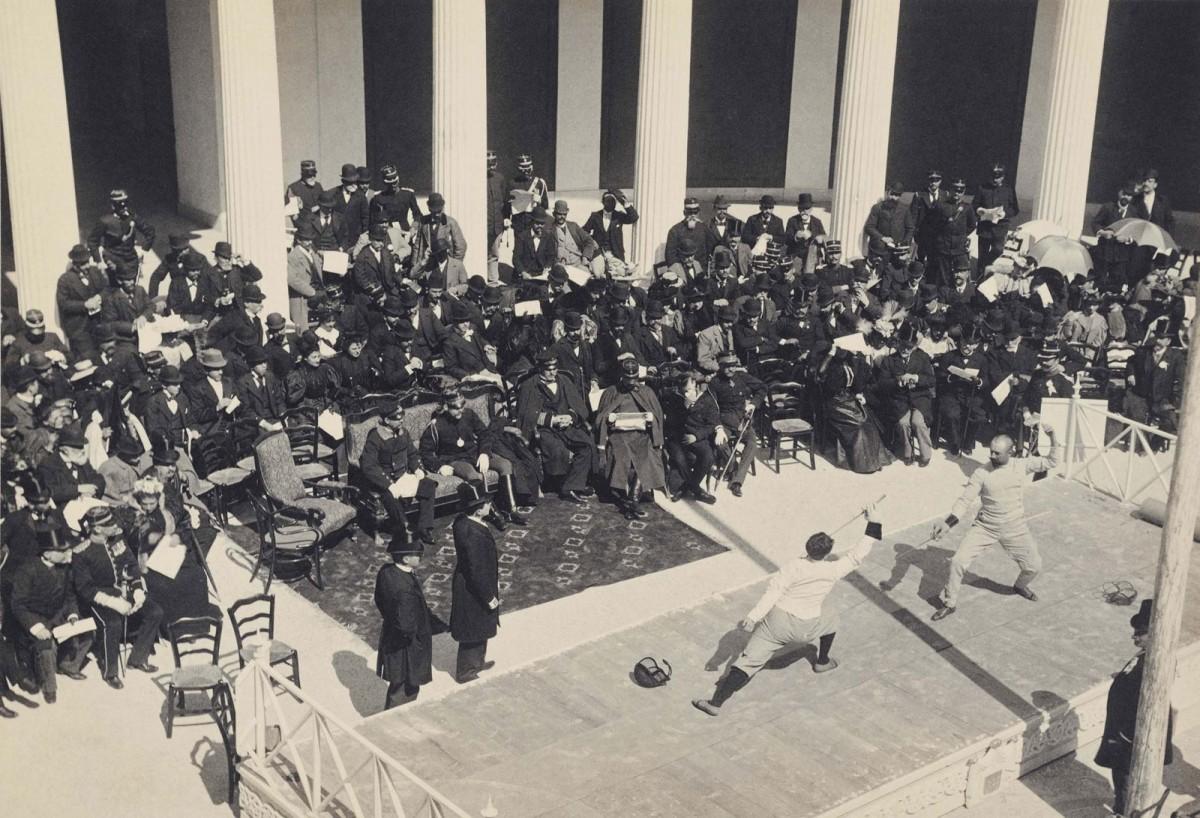 Αγώνες ξιφασκίας στο Ζάππειο. Λεύκωμα Πρώτων Ολυμπιακών Αγώνων 1896. Φωτογράφος: Albert Meyer. Ιστορικά Αρχεία Μουσείου Μπενάκη.