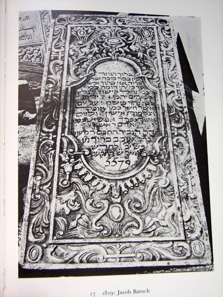 Εικ. 11. Ταφική στήλη Γιακόμπ Βαρούχ, 1819.