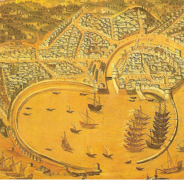 Εικ. 3. Γενουατικός χάρτης της πόλης της Χίου κατά τον 16ο αι. Διακρίνεται το Κάστρο άνω δεξιά.