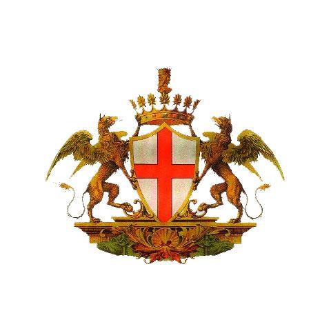 Εικ. 5. Γενοβέζικο οικόσημο με γρύπες και το σταυρό του Αγίου Γεωργίου.