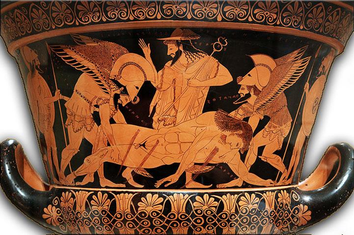 Εικ. 3. Ο Κρατήρας του Ευφρονίου. Αρχές του 6ου αι. π.Χ. Απεικονίζεται το άψυχο σώμα του Σαρπηδόνα, μετά τη μονομαχία του με τον Πάτροκλο, το οποίο μεταφέρεται από τους δίδυμους αδελφούς Ύπνο και Θάνατο, για να ετοιμαστεί η κηδεία του ήρωα. Μητροπολιτικό Μουσείο Τέχνης της Νέας Υόρκης.