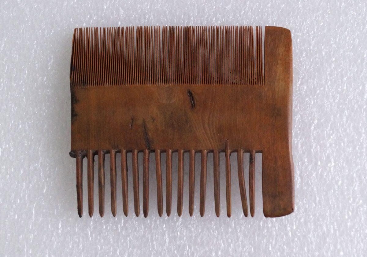 Τμήμα ξύλινης χτένας, στην οποία διατηρούνται σε αρκετά καλή κατάσταση τόσο τα ψιλά όσο και τα χοντρά δόντια.