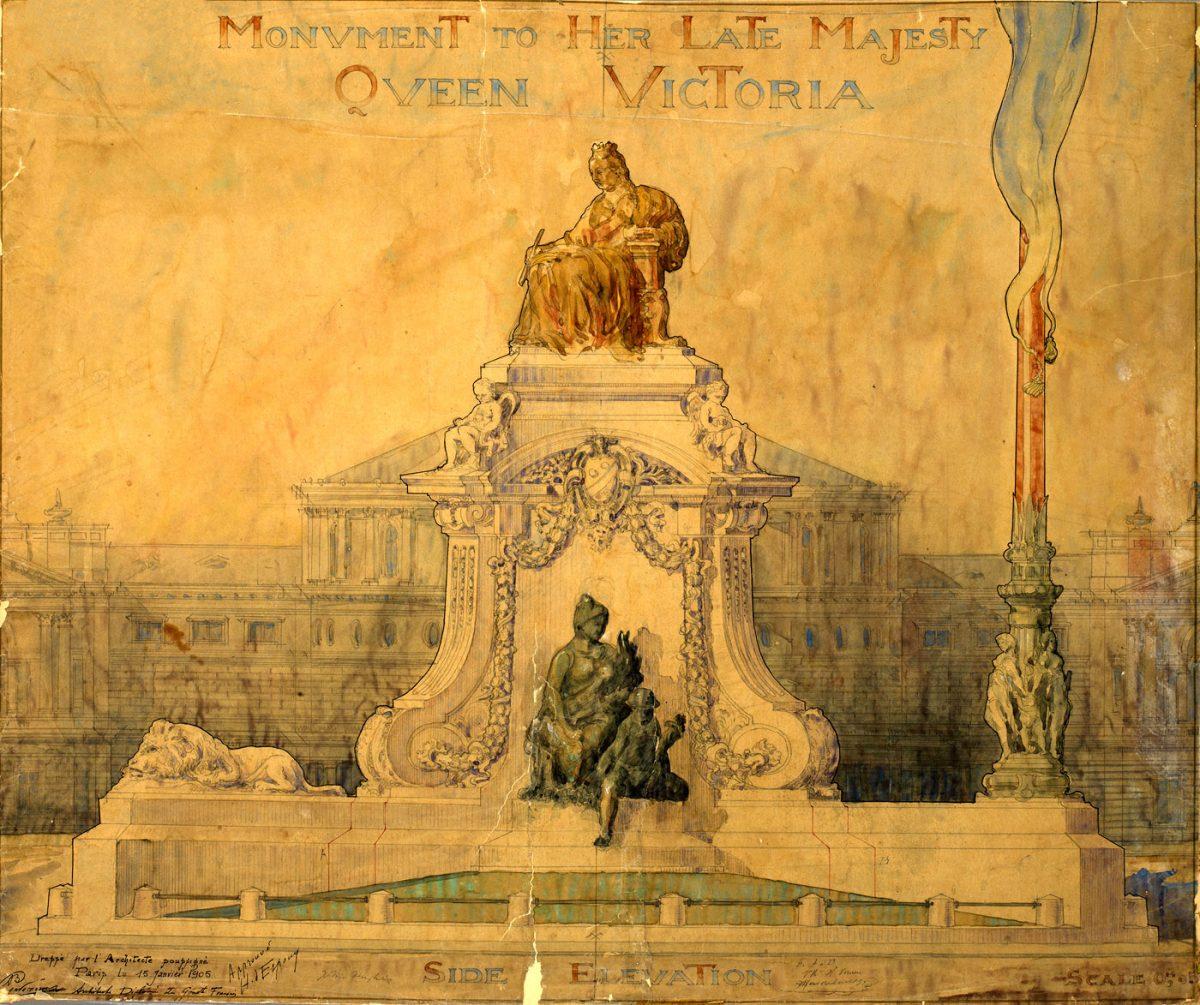 Εικ. 4. Βασίλειος Κουρεμένος (1905). Σχέδιο της πλάγιας όψης του μνημείου.