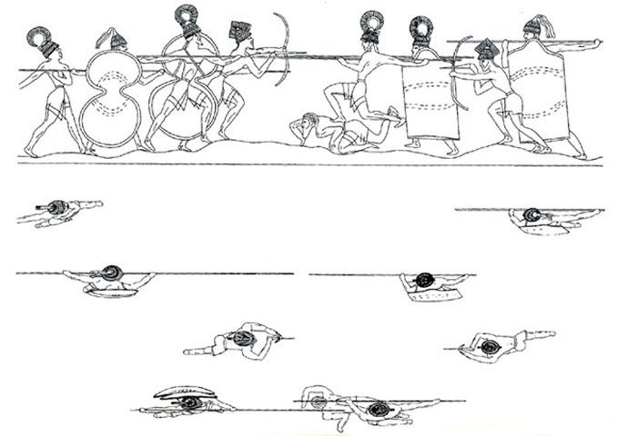 Σχέδιο αναπαράστασης του εικονογραφικού διακόσμου του Κρατήρα της Μάχης.