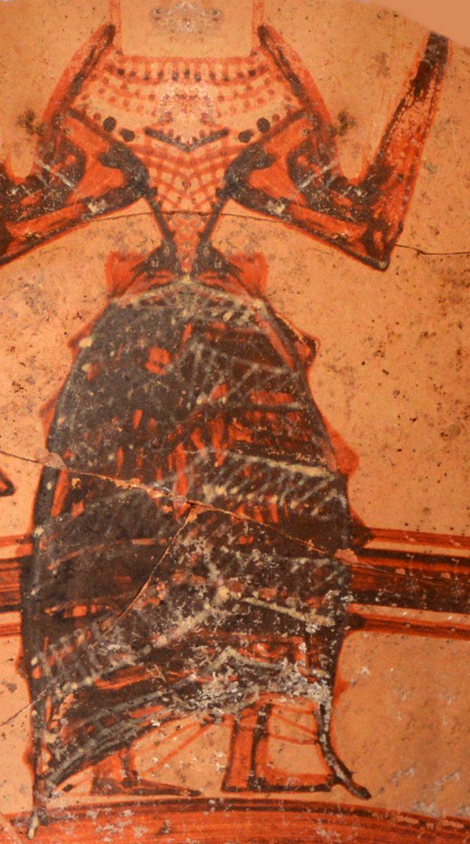 Μυκηναϊκός κρατήρας στον οποίο απεικονίζεται γυναίκα με μινωικού τύπου φόρεμα (φωτ. Τμήμα Αρχαιοτήτων Κύπρου).