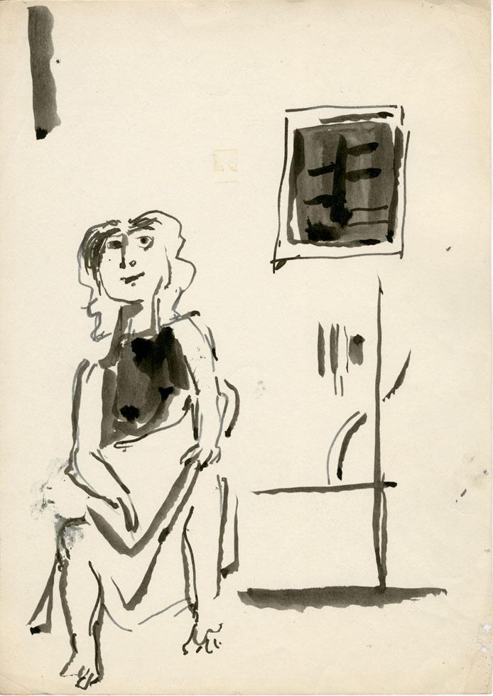 Δημοσθένης Κοκκινίδης, «Γυναίκα μπροστά σε τοίχο», 1959-1961.