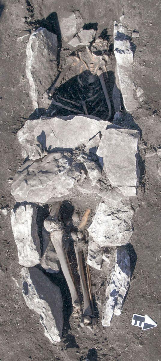 Ανθρώπινη ταφή στο μέσον του βωμού τέφρας με τις καλυπτήριες πλάκες στην περιοχή της λεκάνης (φωτ. ΥΠΠΟΑ).