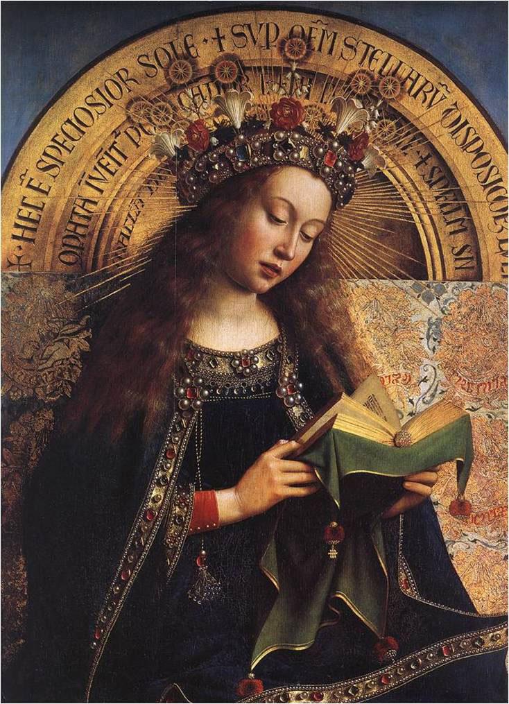 Εικ. 4. Jan Van Eyck, «Η Παρθένος», λεπτομέρεια από το πολύπτυχο της  Γάνδης, 1432. Καθεδρικός του Αγ. Bavo.