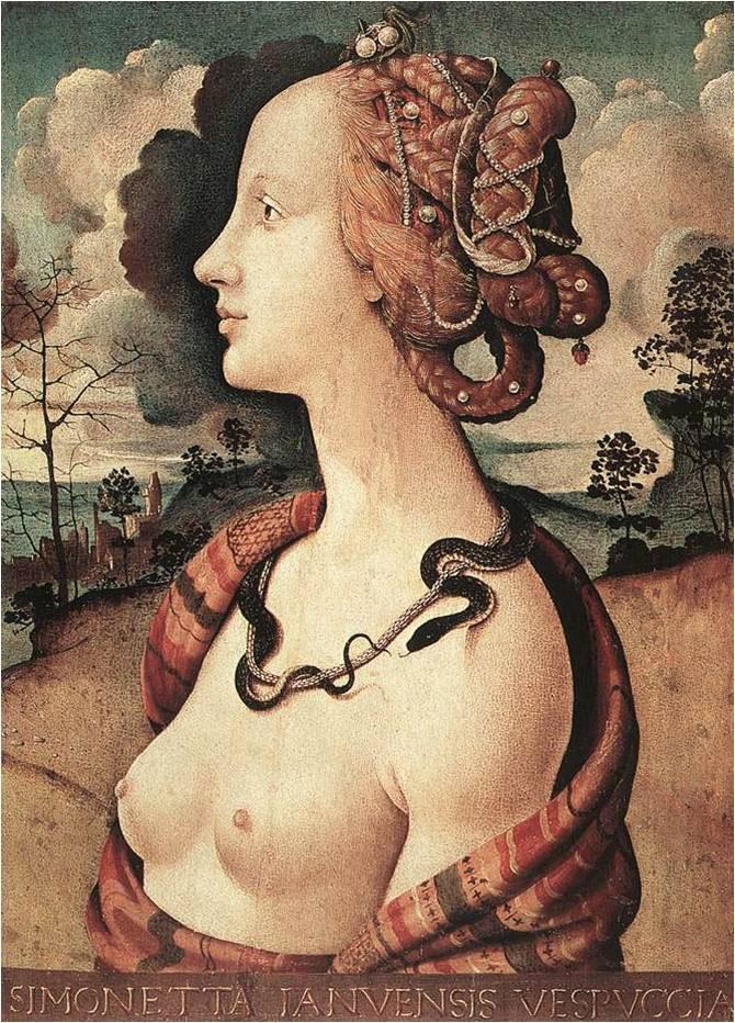 Εικ. 7. Piero di Cosimo, «Simonetta Vespucci», π. 1480.  Musée Condé, Chantilly.