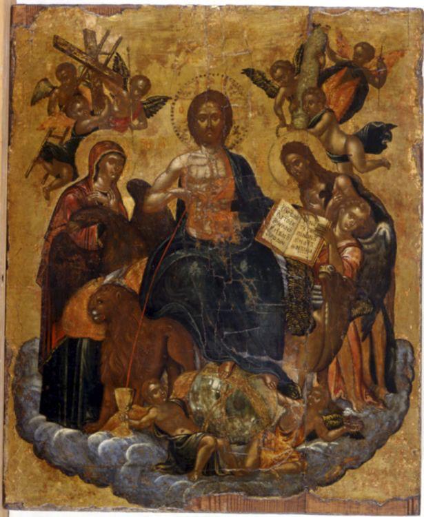 «Αλληγορία Θείας Μετάληψης», φορητή εικόνα, έργο του Μιχαήλ Δαμασκηνού. Β' μισό 16ου αιώνα. Βυζαντινό και Χριστιανικό Μουσείο, Αθήνα.
