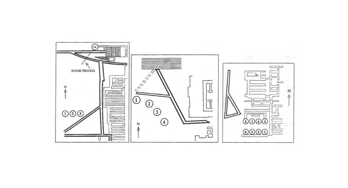 Εικ. 5. Δυτικές αυλές και «κουλούρες» στα «ανάκτορα» (από αριστερά προς δεξιά) Κνωσού, Φαιστού και Μαλίων (Strasser 1997, σ. 74).