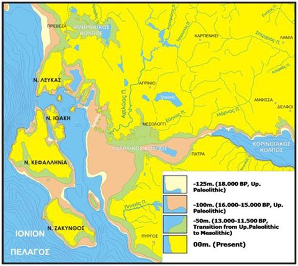 Χάρτης όπου αποτυπώνονται οι διαδοχικές ακτογραμμές της Δυτικής Ελλάδας και των Ιονίων νήσων σε διάφορα χρονικά διαστήματα από το μέγιστο της παγετώδους εποχής μέχρι σήμερα (φωτ. ΑΠΕ-ΜΠΕ).