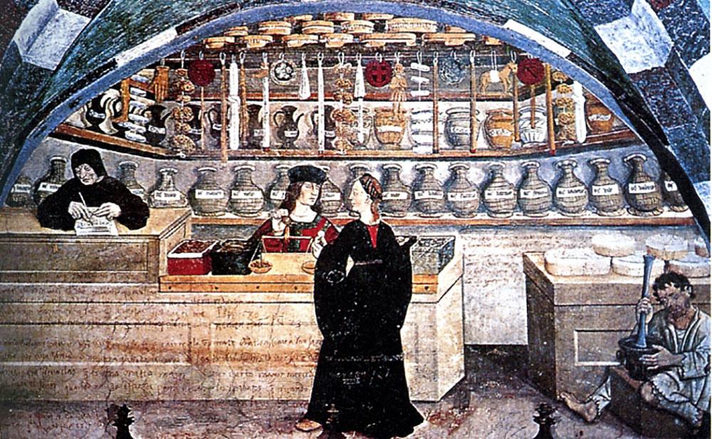 Φαρμακείο, περ. 1500.  Castello di Issogne, Vald'Aosta, Ιταλία.