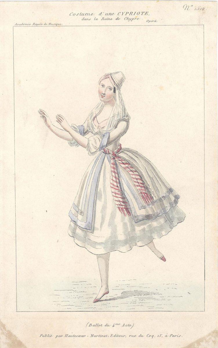 Έγχρωµο χαρακτικό µε ενδυµασία νεαρής Κύπριας, για την όπερα «La reine de Chypre» του Fromental Halévy. Βασιλική Μουσική Ακαδηµία Παρισιού, 1841. Λεβέντειο Δημοτικό Μουσείο Λευκωσίας. Συλλογή: Δηµήτριος Μιχαηλίδης.