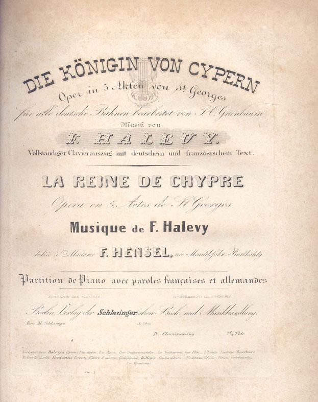 Παρτιτούρα της όπερας «Die Königin von Cypern/La Reine de Chypre» (Η βασίλισσα της Κύπρου). Συλλογή: Λεβέντειο Δημοτικό Μουσείο Λευκωσίας.